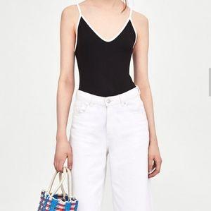Zara Trafaluc Black Bodysuit w/ White Trim NWT M